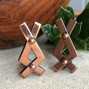 Vtg Renoir Copper Brutalist Clip-on Earrings